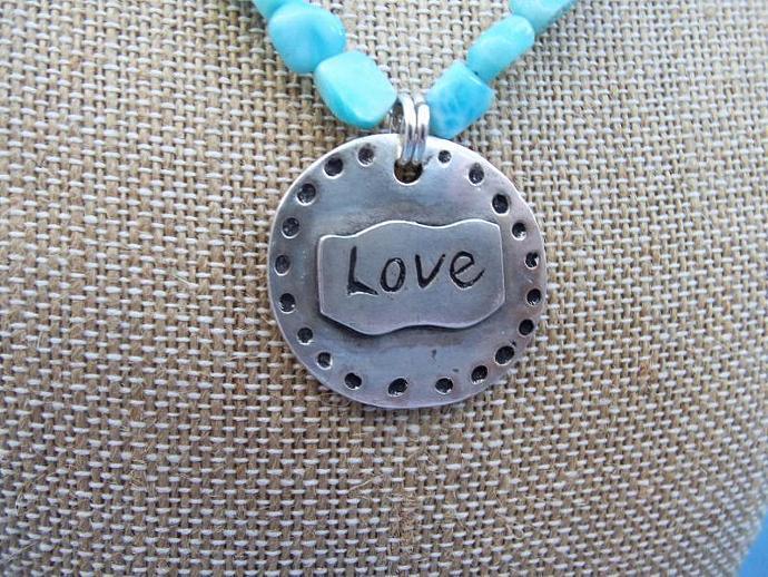 Beautiful Larimar Necklace with OOAK Artisan Fine Silver LOVE Pendant