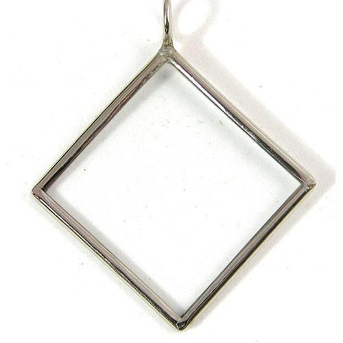 2.25in Diagonal Square, Silver Glass Frame Pendant