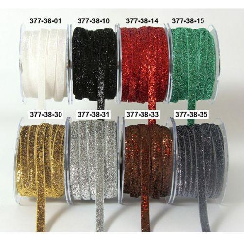 May Arts Snow White Velvet Metallic Ribbon. 3/8 in x 36 in