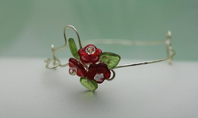Wirework Heart with Ruby Red Glass Bouquet Flower bangle  bracelet