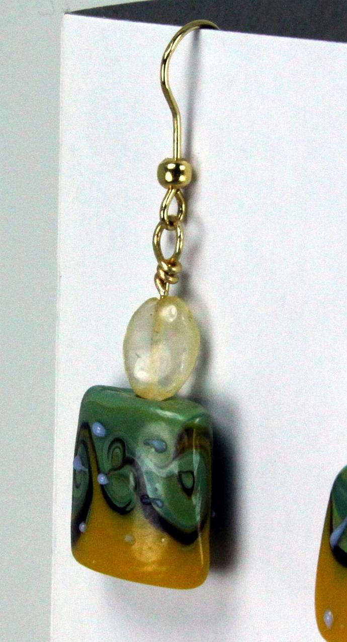 Earrings- Citrine & Lampwork Dangles