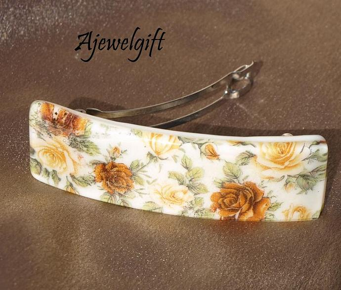 Bed of Roses Fused Glass Barrette 113109
