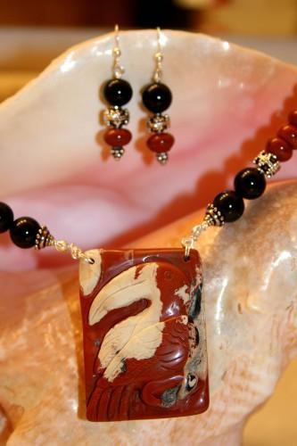 Stunning Hand Carved Red River Jasper Big Bird PendantNecklace