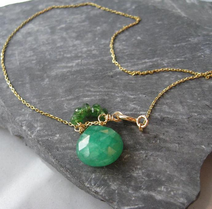 14k Gold Emerald Bracelet, genuine faceted gemstone, handcrafted in 14k gold