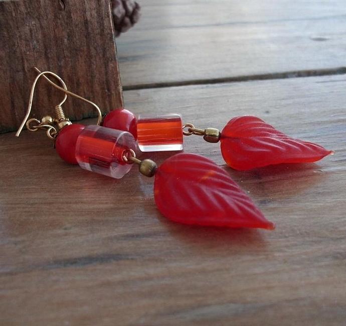 Fancy Long Red-Orange Leaf Dangle Earrings