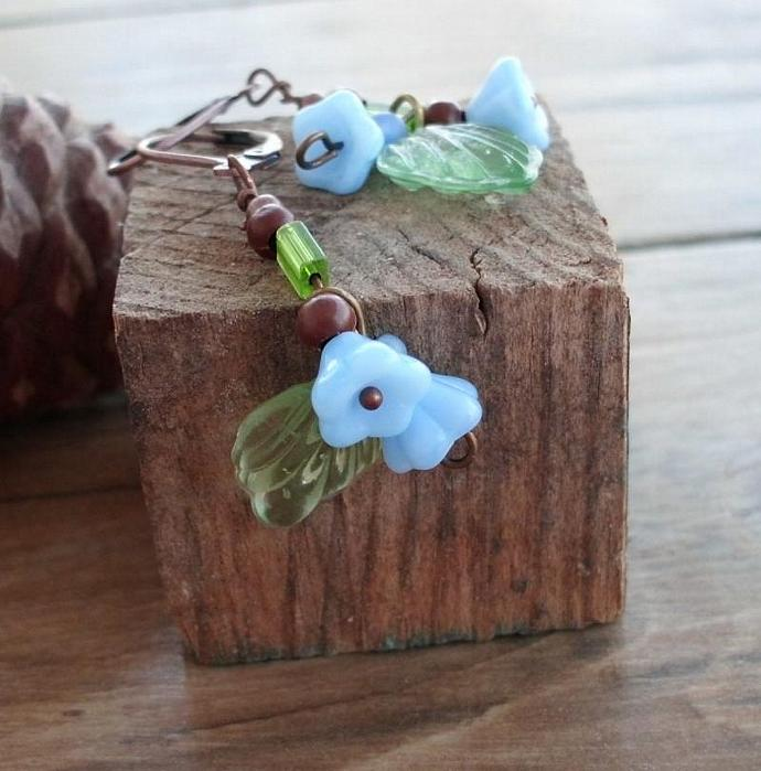 Spring is Coming Blue Floral Green Leafy Earrings