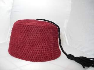 Red Crocheted Fez