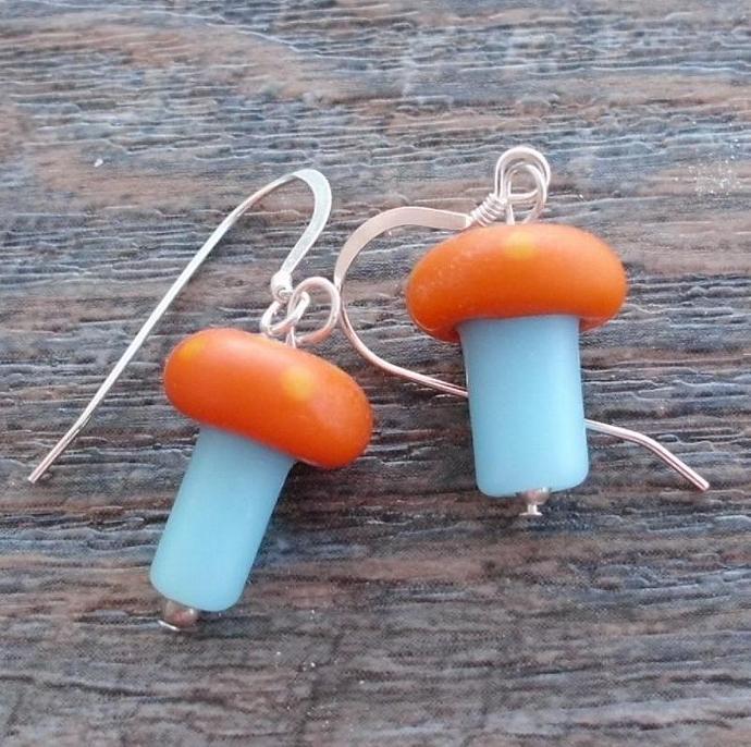'Shrooms! Orange and Blue Mushroom Earrings on Sterling Wires