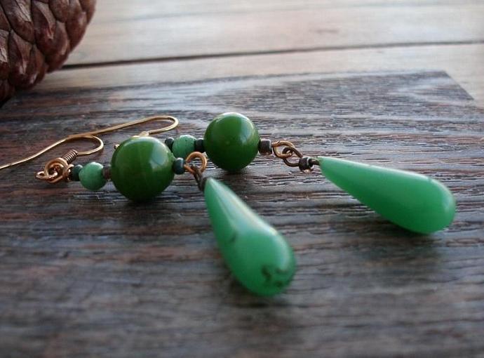 Go Green - Long Green Teardrop Earrings on Gold Plated Findings/