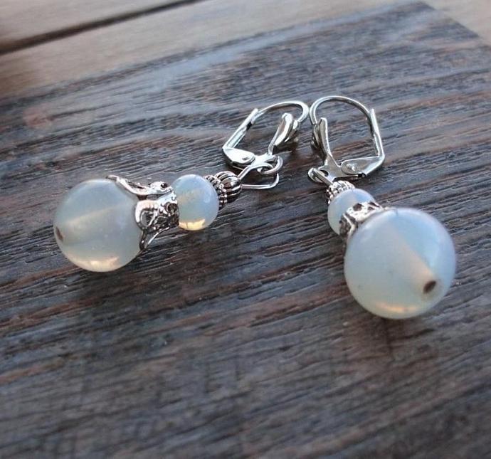 Opalite Vintage Style Leverback Earrings Opal Glowing Glass