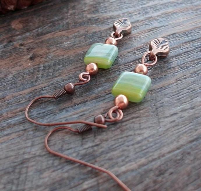 Dainty Green Squares with Copper Leaves