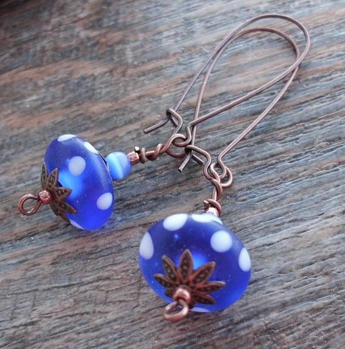 Cobalt Blue Dots Long Dangle Earrings