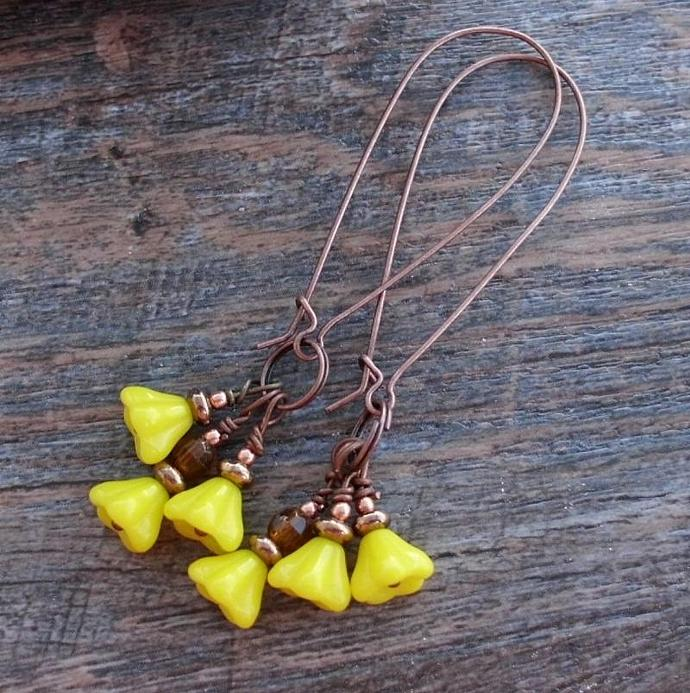 Yellow Spring Flowers Long Dangle Earrings Posies Blossoms