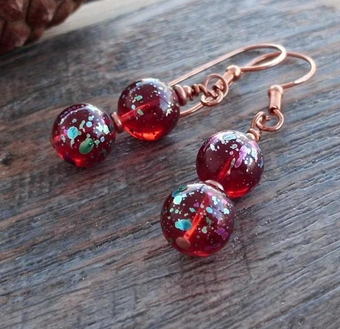 Multicolor Red Beads on Copper Earrings