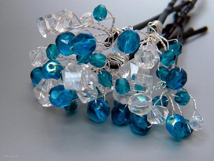 Navy Blue White Crystal Clear Hairclip Hairslide Barrette Swarovski Crystal Set