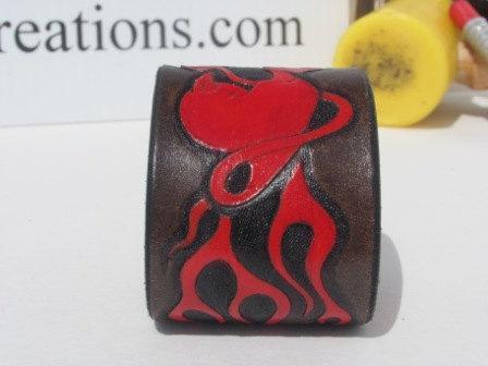 Devil heart Leather Cuff