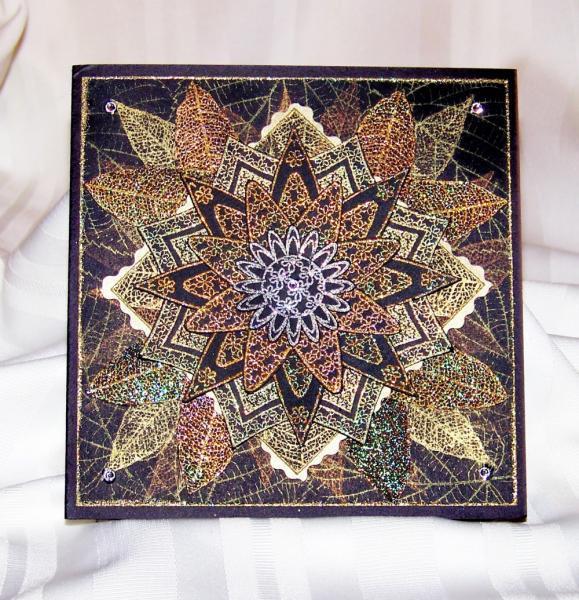 Mandala art card in black, gold, copper, silver