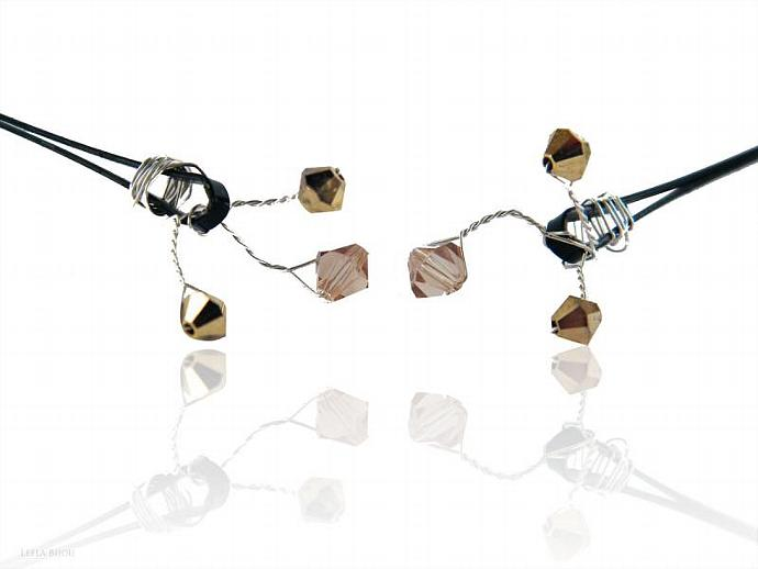 Romantic Hair Pins Golden Copper Swarovski Crystal Set Of Six Bobby Pins