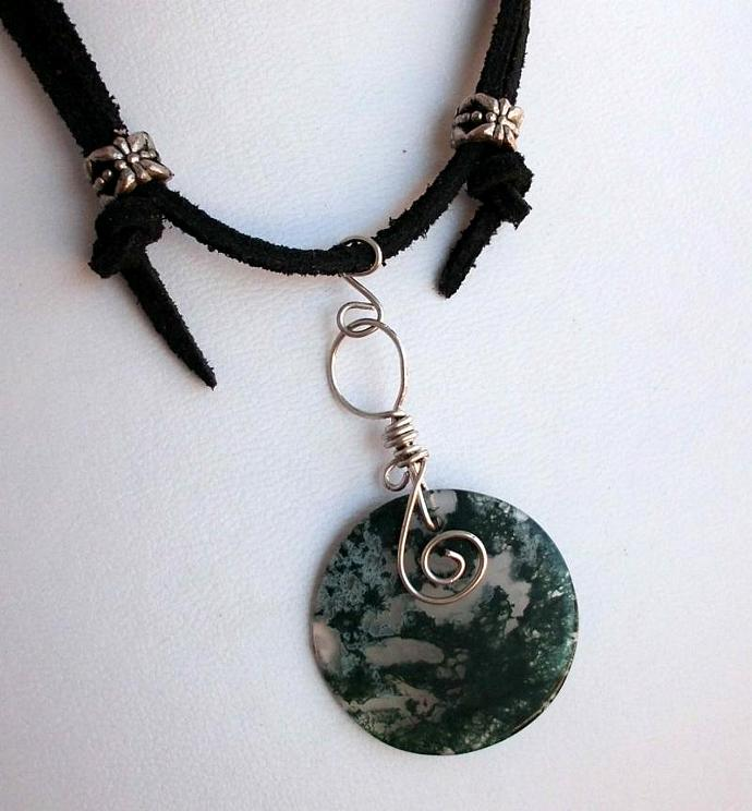 Moss Agate Pendant on Adjustable Leather Cord Clear and Green