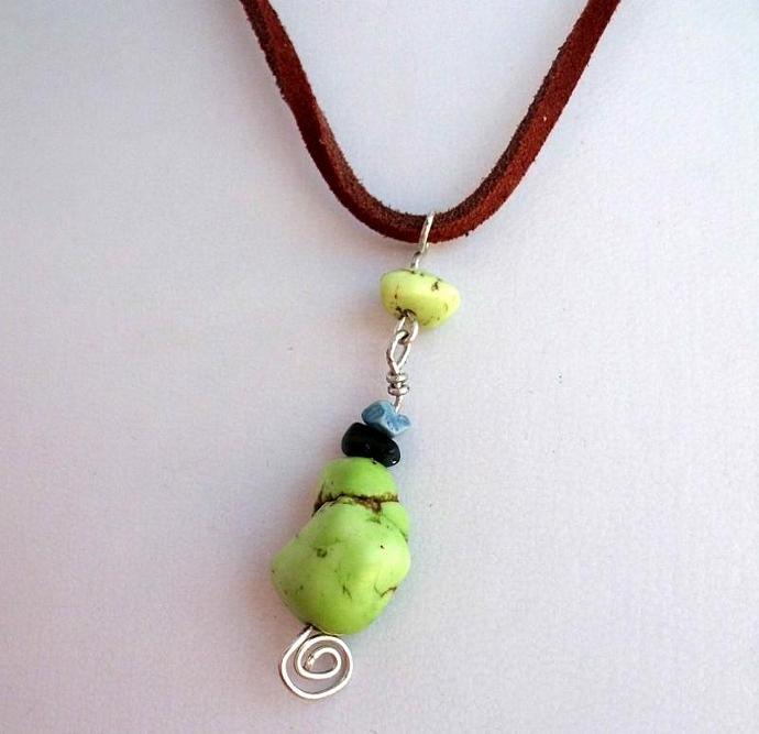 Lime Green Turquoise Nugget on Adjustable Leather Necklace.