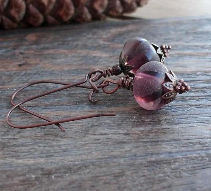 Purple Matte Lampworked Beads Vintage Style Earrings