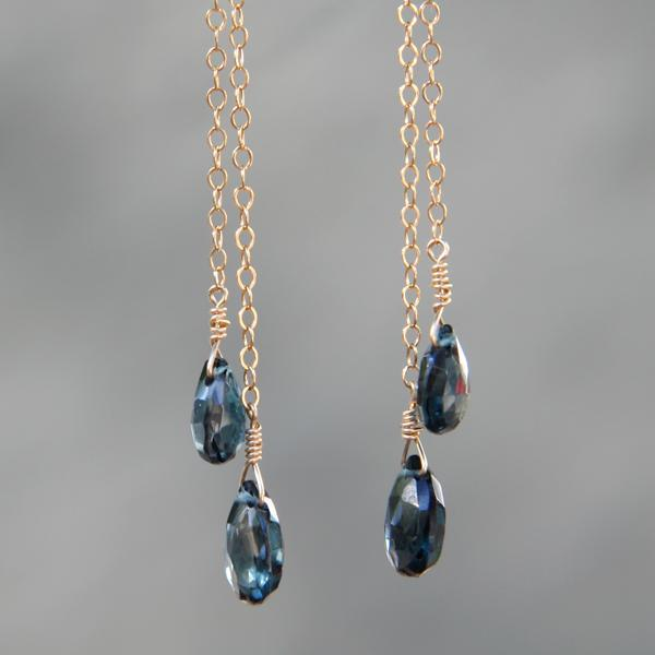 London Blue Topaz Drop and Gold Shoulder Duster Earrings