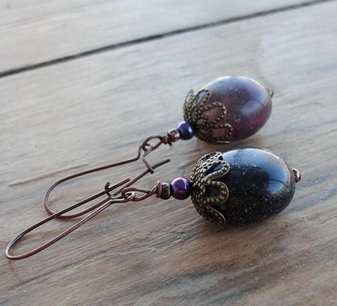 Fluorite Pebbles Vintage Style Earrings Purple and Green