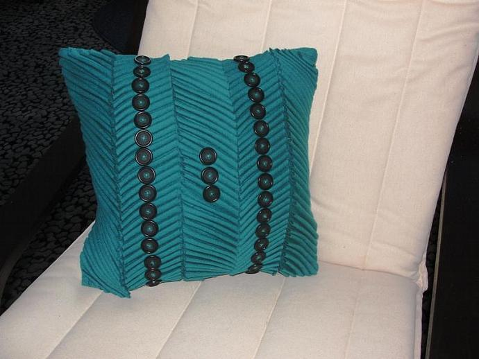 Button Pillow Cover in Turquoise