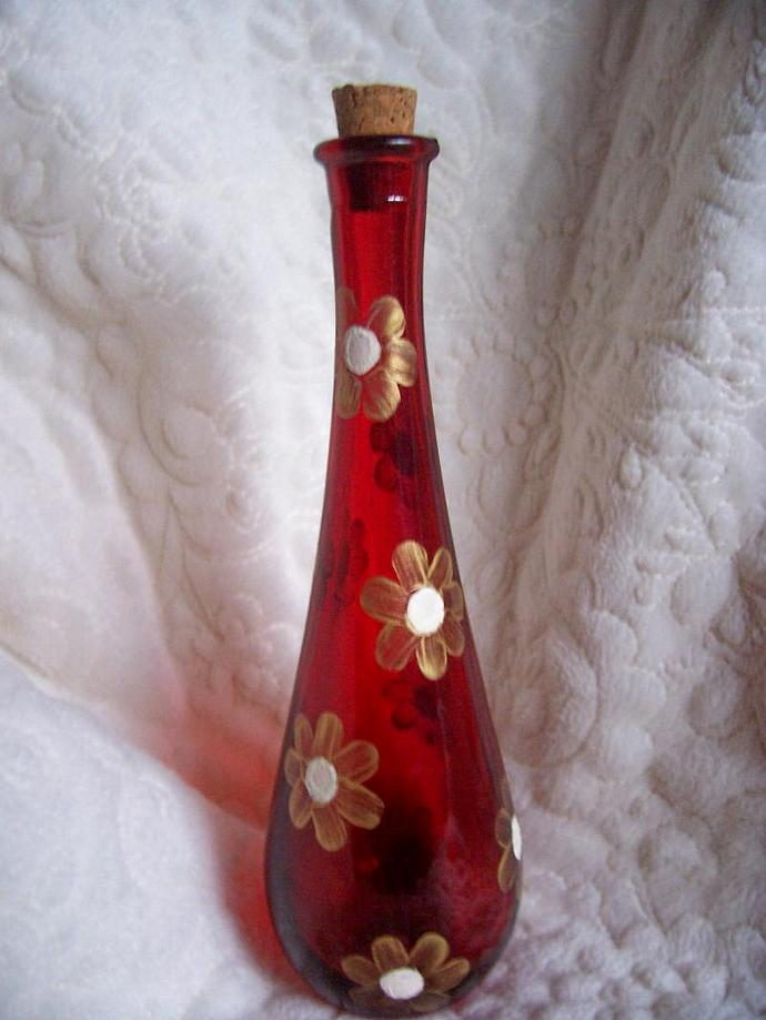 Gold Flowered Red Bottle