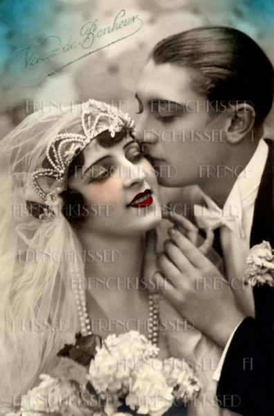 Art Deco WEDDING Bride Groom Pearl Beads Veil French DIGITAL scan Black and