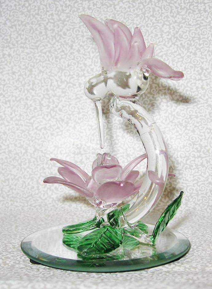 "4 1/4"" Tall Hand Blown Glass Hummingbird and Flower W/Mirror Base"