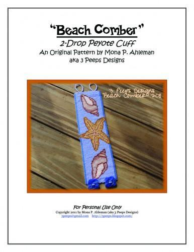 Beach Comber Peyote Cuff Pattern by 3 Peeps Designs