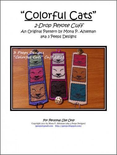 Colorful Cats Peyote Bracelet PDF Pattern