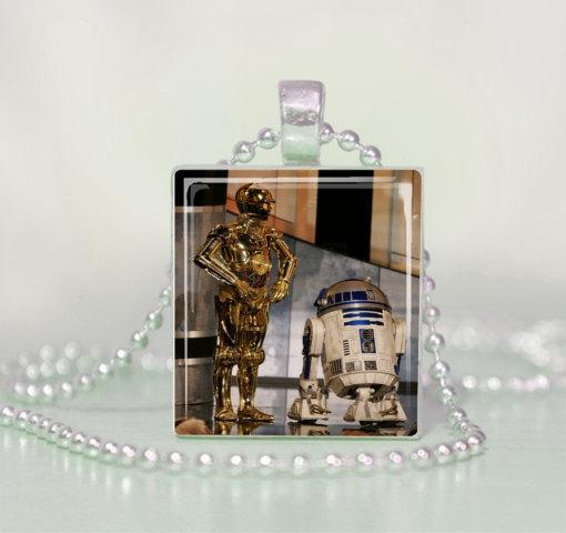 Star Wars C3PO & R2D2 Scrabble Tile Pendant Necklace
