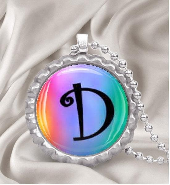 Custom Tie Dyed Initial Bottle Cap Necklace