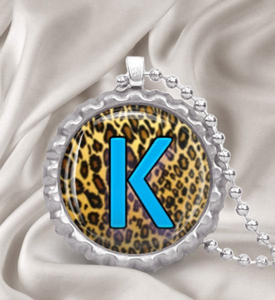 Custom Leopard Print Initial Bottle Cap Necklace