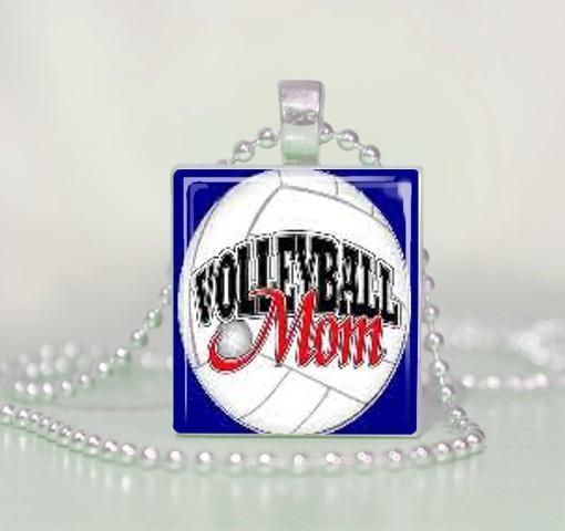 Volleyball Mom Scrabble Tile Pendant