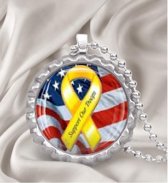 Support Our Troops Yellow Ribbon Bottle Cap Necklace or Key Chain