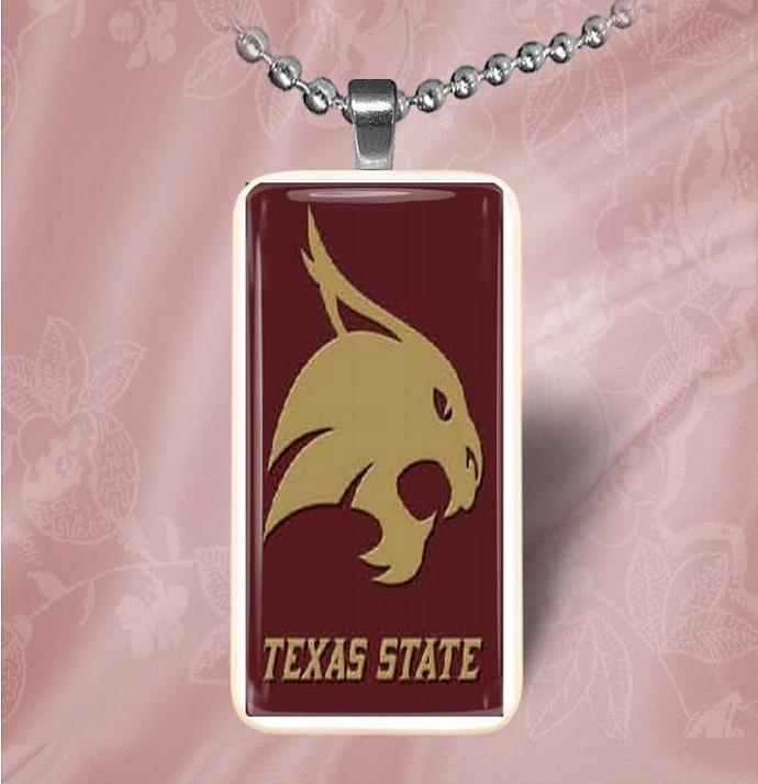 Texas State University Bobcats Domino Pendant Necklace