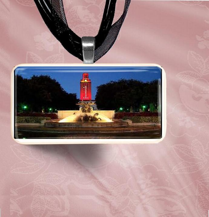 UT Tower & Statue Domino Pendant Necklace