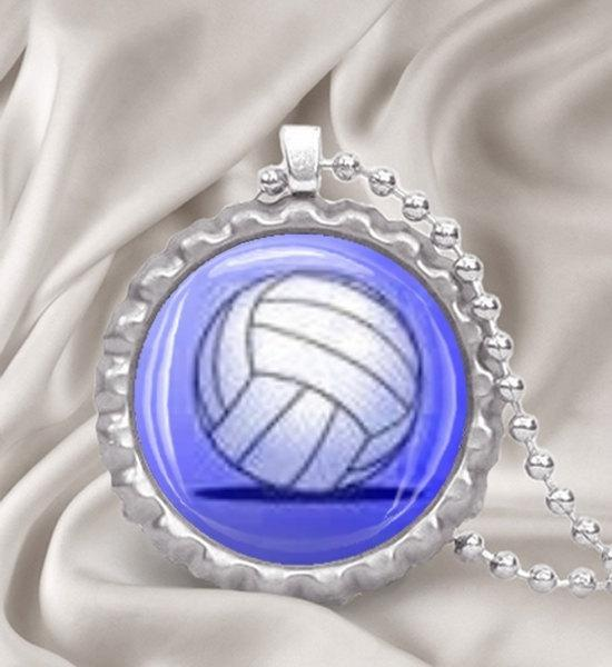 Volleyball Bottle Cap Necklace