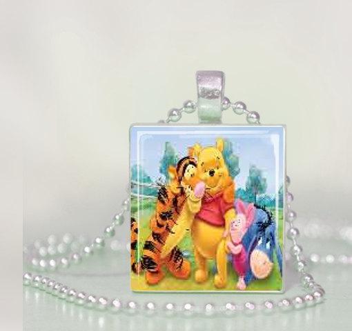 Winnie the Pooh Scrabble Tile Pendant Necklace
