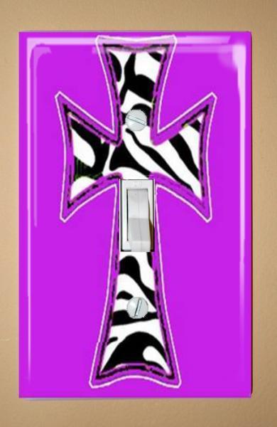 Zebra Cross on Purple Background Light Switch Plate Cover Wallplate