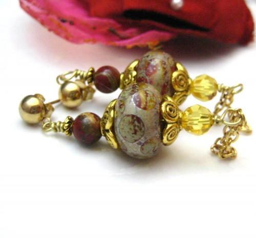 Handmade Victorian Style Lampwork Glass Post Earrings Red and Yellow