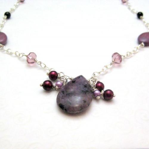 Handmade Dalmation Jasper Pearl and Chain Necklace Purple Shadows