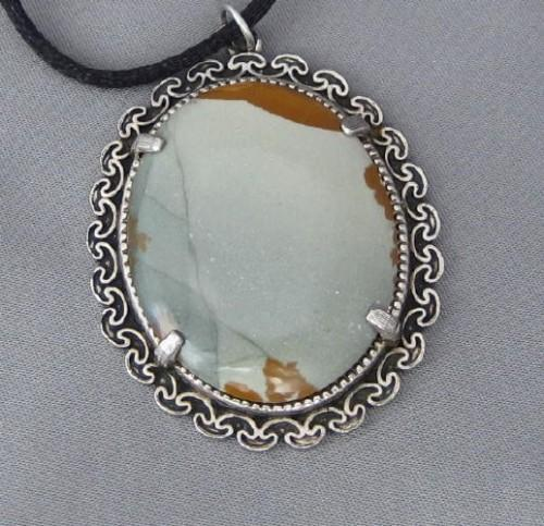 Olive Green and Sage Brown Picture Jasper Pendant
