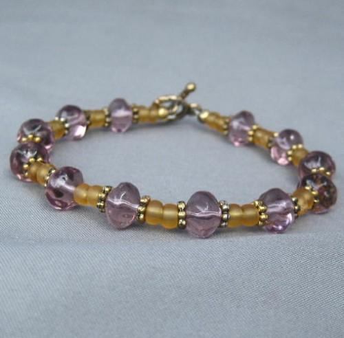 Handmade Purple and Gold Glass Bead Bracelet Spring Has Arrived