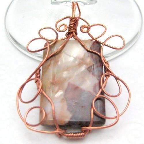 Picture Jasper Copper Wire Wrapped Handmade Pendant Tan Brown Cream