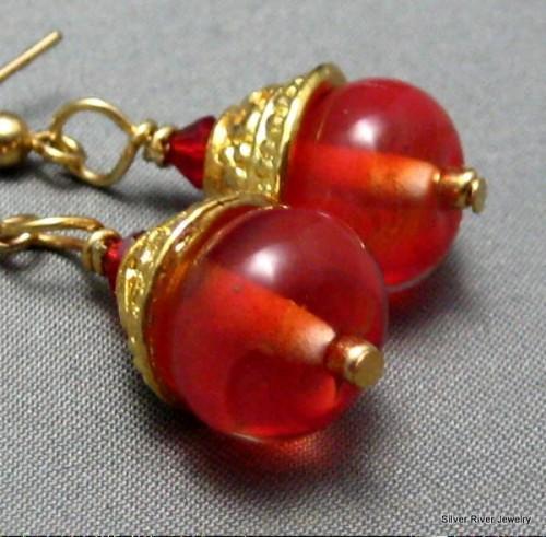 Liquid Flame Lampwork Bead Earrings