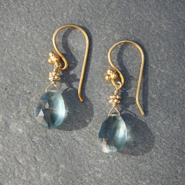 Moss Aquamarine Drop and Gold Earrings